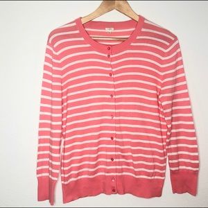 J. Crew Coral striped button up cardigan sz Large
